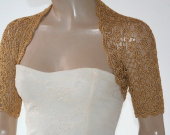 Wedding Bridal Bolero Shrug Lace Crochet Shrug Boleros Gold Silk