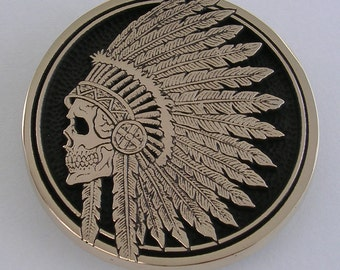 Indian Skull Headdress Belt Buckle
