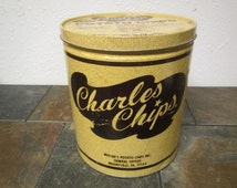 vintage CHARLES POTATO CHIPS 16 ounce tin can , Charles Chips , Mussers potato chips