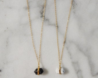 Gold Howlite Necklace | Gemstone Necklace | Simple Necklace | White Howlite | Black Howlite | Boho Necklace