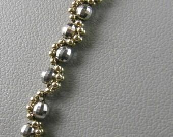 """Charming 14K Yellow & White Gold Beaded 7 3/4"""" Bracelet"""
