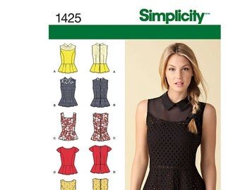 Simplicity 1425 R5, Simplicity Sewing Pattern 1425 R5, Misses' Top Pattern, Princess Seam, FREE SHIPPING, Sizes 14-22