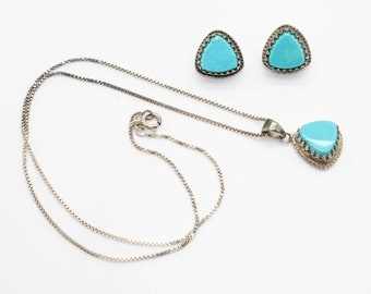 Lovely Vintage DTR Sterling Silver Turquoise Trillion Cut Crown Set Necklace- Pierced Earrings SET-Estate Jewelry!