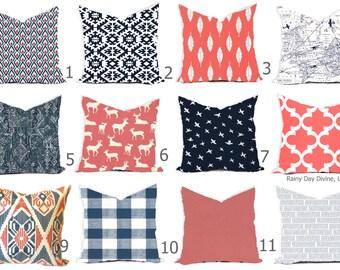 Pillows Cover Custom  - Navy Blue Indigo Coral Vintage Modern Geometric Tribal Quatrefoil 18x18, 16x16