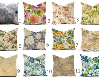 Pillow Pillows Covers - Rose Floral Shabby Chic Multiple Colors Blue Gray - All sizes 16x16  18x18  Throw Toss Accent Pillow Home Coastal