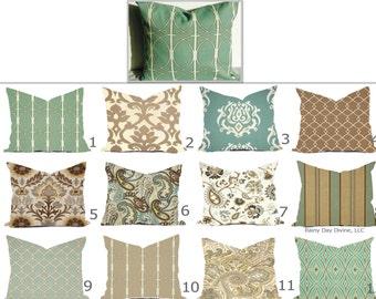 Pillows Outdoor Indoor Covers Custom -  Spa Mist Mineral Aqua Blue Light Blue Surf Brown Taupe Beige Khaki Tan Modern Geometric 18x18, 16x16
