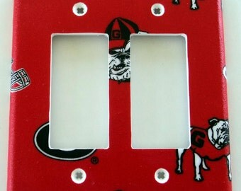 University of Georgia Bulldogs Print Double GFI Outlet Rocker Light Switch Plate Cover