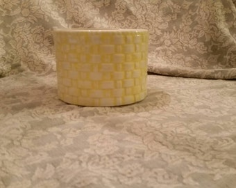 Yellow Ceramic Basket Weave Wide Vase