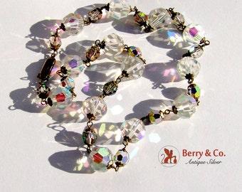 Vintage Aurora Borealis Bead Necklace 835 Silver Clasp