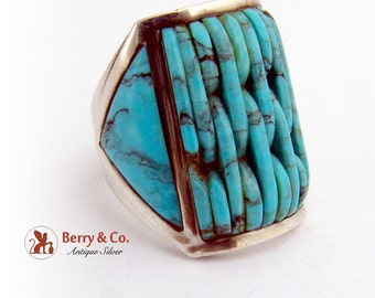Vintage Turquoise Imitation Ring Sterling Silver