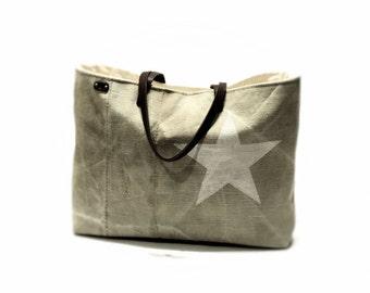 Canvas tote bag Leather straps Recycled Vintage bag Shoulder Bag