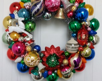 Vintage Shiny Brite Mercury Glass Ornament Wreath