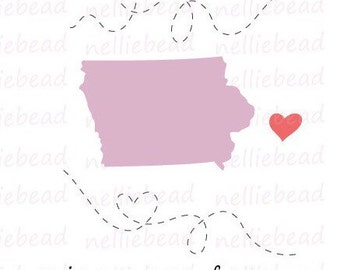 Iowa State SVG Digital cut files - Long Distance Relationship - Use with Cricut or Silhouette Studio