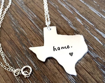 Texas State Necklace - State Charm - ANY STATE - Customized Map Jewelry - Choose Your State