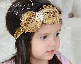 Gold Metallic  Headband/Christmas Headband/Infant Headband/Baby Headband/Newborn Headband/Toddler Headband/Girl Headband/