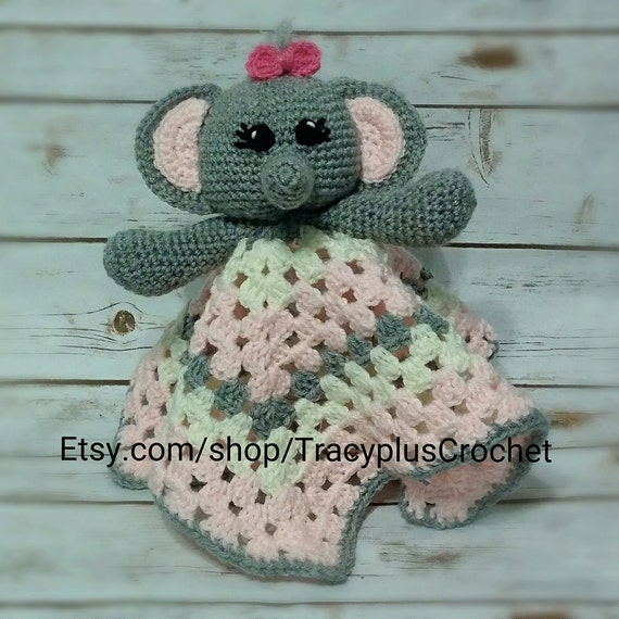 Crochet Elephant security blanket. Elephant Lovey blanket. Crochet ...