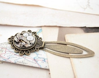 Bookmark / Steampunk Watch Bookmark/ Antique Bronze Book Mark with Watch Movement/ Gifts for Bookworms