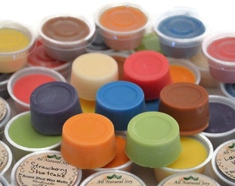 10 or 20 Piece Scent Shot Sampler Variety Packs. Highly Scented Mini All Natural Vegan Soy Wax Melts, Sample Size.