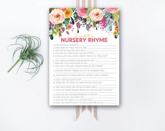 INSTANT DOWNLOAD printable baby shower game / nursery rhyme game / rhyme matching game / #VC100