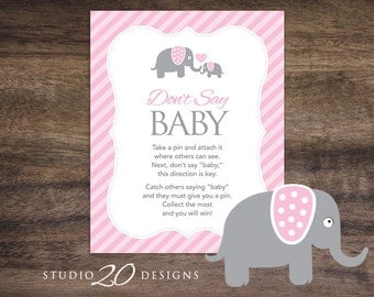 Instant Download Pink Elephant Don't Say Baby Sign, 8x10 Girl Elephant Shower Icebreaker Pin Game, Baby Shower Don't Say Baby Game 22B
