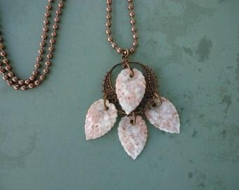 Lucite Confetti Leaves Pendant Necklace