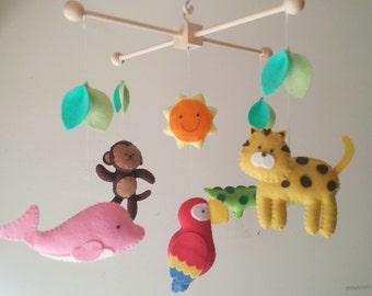 "Baby crib mobile, jungle mobile, animal mobile ""Exploring the Amazon 2"" - Monkey, Alligator, Pink dolphin, Jaguar, scarlet macaw"