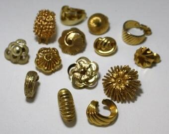 Vintage Single Earring Lot  - Gold Tone Earring Lot