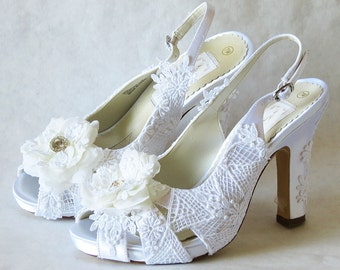 WeDDING LACe HEELs - WHITE  Lace Shoes Wedding Collection - Slingbacks - ONLY US Size 7B
