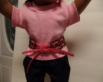 """Brown/Hot Pink Studded- leather Belt for 18"""" Dolls--Shown on my american girl doll"""