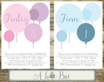 Balloon Birthday Invitation Digital, Blue Balloon Birthday Invitation, Pink Balloon Birthday Invitation, 1st Birthday Invitation