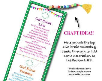 Girl Scout Bookmarks, Girl Scout Crafts, Girl Scout SWAPS, INSTANT DOWNLOAD, Girl Scout Promise Law, Daisy, Brownie, Girl Scout Printables,