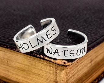 Holmes and Watson Best Friends Rings - Valentines Day Gift