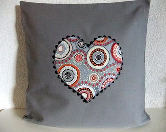 Cushion cover with heart, cushion cover