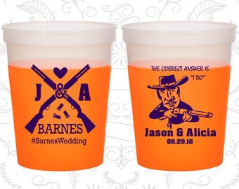 Shotgun Wedding (C563) Customized Mood Cups, Country Wedding, Redneck Wedding, Orange Mood Cups