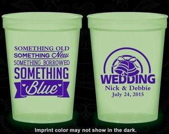 Something Old, Something New, Something Borrowed, Something Blue, Printed Nite Glow Cups, Wedding Bells, Glow in the Dark (466)