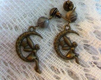 Fairy moon pierced earrings with fossil jasper gemstone beads.