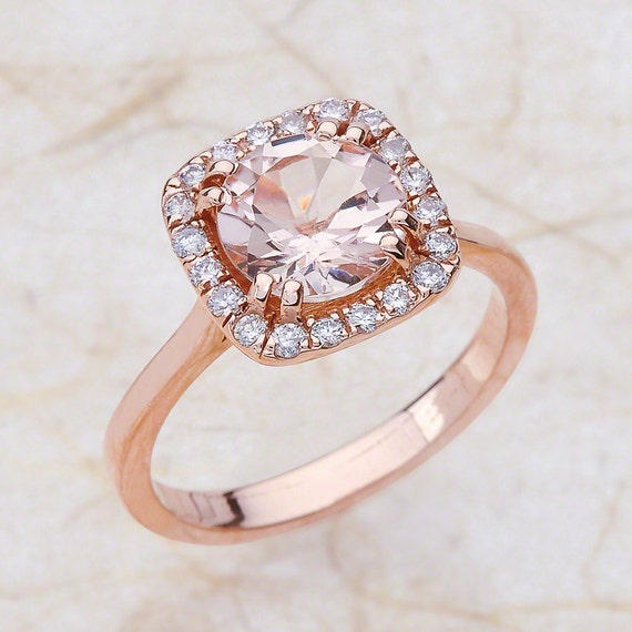 Morganite Rose Gold Engagement Ring in 14k Rose Gold 8x8mm Round Engament Ring