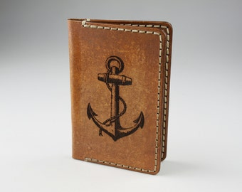 Mens Leather Credit Card Wallet  -  Engraved Anchor #6