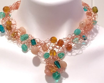 BeadDazzled Wire Crochet Necklace