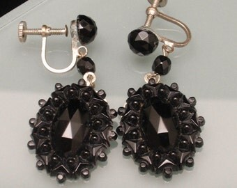Black Glass Oval Drop Earrings Easy to Convert to Wires
