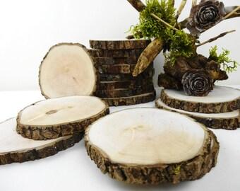 "4"" Wood Slices, Tree Circles, Tree Slices, Wedding Decor, Woodwork, Rustic Wedding Decor,Crafts,Coasters, Ornaments(B101), Set of 10"