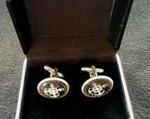 Men's Nautical Company around the world anchor silver coloured cufflinks