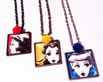 Your Choice of Snow White, Belle, OR Cinderella Square Pendant Necklace