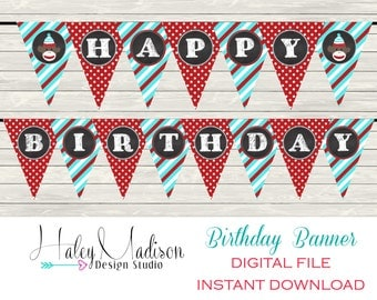Sock Monkey Birthday Banner DIGITAL FILE DIY