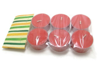 Scented Soy Tea Lights - Package of 6 - Red Hot Cinnamon, Wedding, Housewarming, Birthday, Shower Favor, Gift Under 10