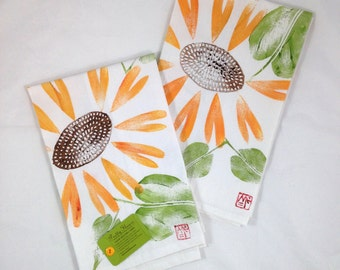 Dish Towel, Hand Printed by Molly Thompson: Sunflower