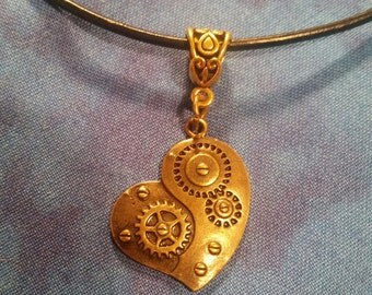 Steampunk Inspired Heart Necklace - Gold Tone
