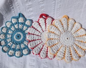 Hand Crocheted Flower Pot Holders:  Blue/White, Yellow/White, Red/White
