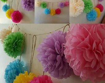 wedding party birthday babyshower hanging garland decorations, Tissue paper pompoms