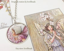 """Sweet fairy vintage look """"Lilac tree"""" amulet with genuine preserved book-fragment. Flowerchild Tree fairy. Unique piece OOAK"""
